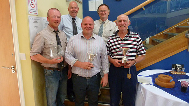 The Charolais trophy winners: Back row BCCS President Ralph Needham, Welsh Charolais Chairman, Griff Morris Front row, Peter Howells, Charlie Boden and Mike Brown