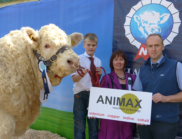 Junior Young Handler Oisin Quigley with judge Alison Connolly and Neil Acheson Animal sponsor