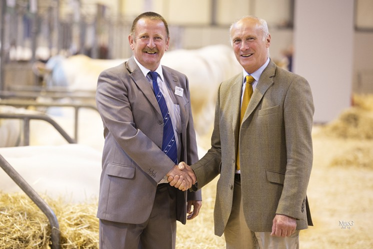 Cyril Millar was elected the British Charolais Cattle Society President at the Annual General Meeting.  Adding his congratulations is the BCCS Chairman Steven Nesbitt