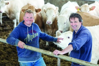 Farm manager Patrick Lambert with stockman Allan MacIntyre (left)