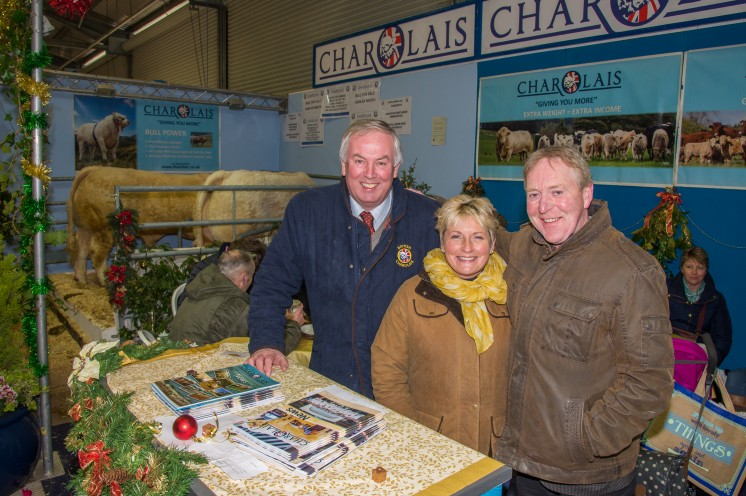 Charolais complete a hattrick at the Royal Welsh Winter Fair winning the Best Breed Stand for the 3rd year running. Pictured on the winning stand are David Benson, Ali Tucker and Gareth Roberts