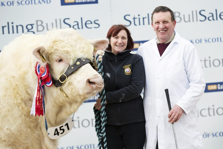 A delighted Tom and Sheena Gatherer with their championship winning bull Barnsford Jubilant