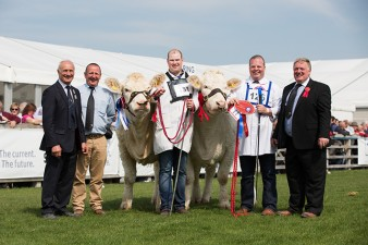 Cyril Millar & Steven Nesbitt with Reserve Female Champion Coolnaslee Jasmine with Stuart Wilson and Female Champion Brigadoon Jemma with David Connolly & Judge Brian McAllister