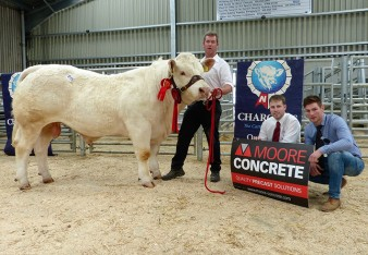 Eamon Mcgarry and Reserve Champion Deerfin Libra 2250gns with Jeff Haslett Sponsor and judge Gerard Mcshane