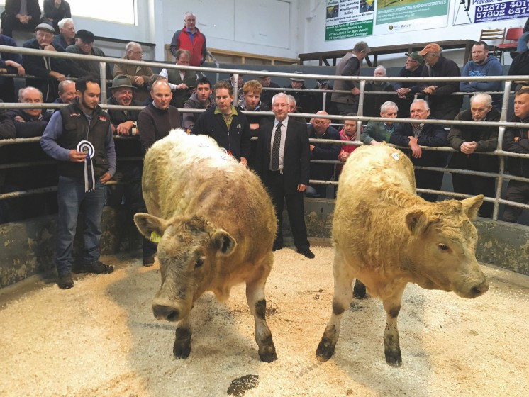 Judge Ian Rea and Noel Loughran, Ulster Bank Ltd congratulates Swatragh champion John Bradley and reserve Joseph McIlwaine
