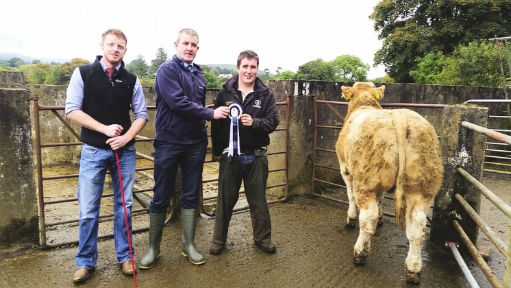 Judge Richie Devine and Ulster Bank representative Fergus McCrossan congratulate Plumbridge champion Thomas McIlwaine